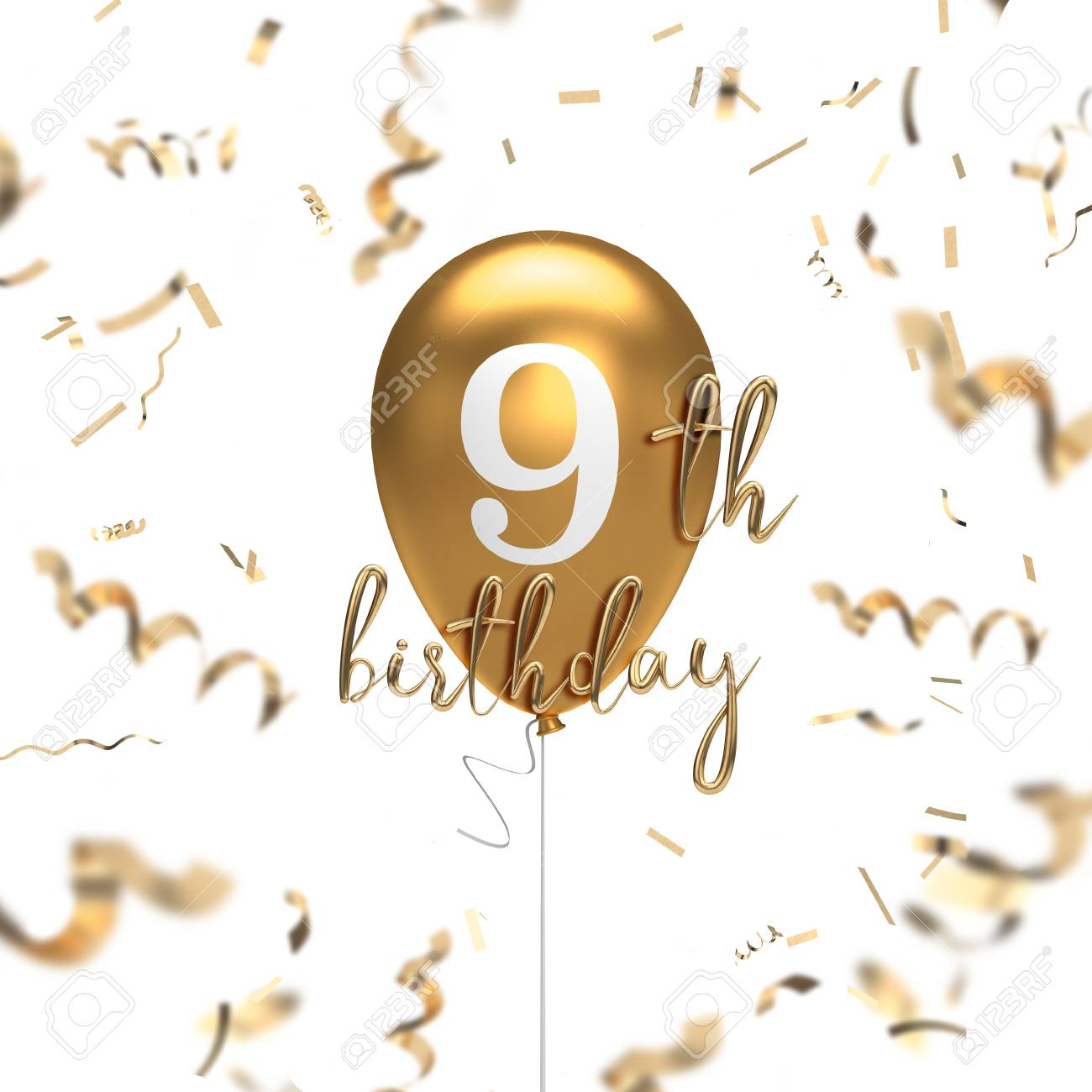 Happy 9th Birthday Gold Balloon Greeting Background 3d Rendering Stock Photo Picture And Royalty Free Image Image 105639612