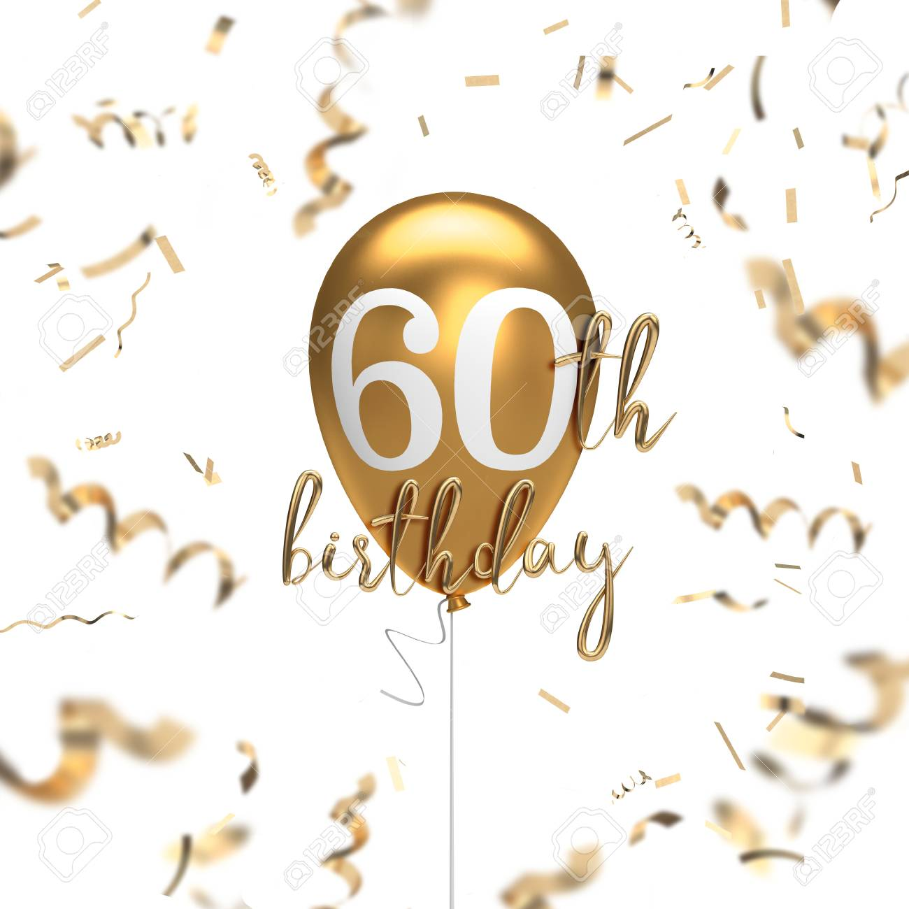 Happy 60th Birthday Gold Balloon Greeting Background 3d Rendering Stock Photo Picture And Royalty Free Image Image 105639677