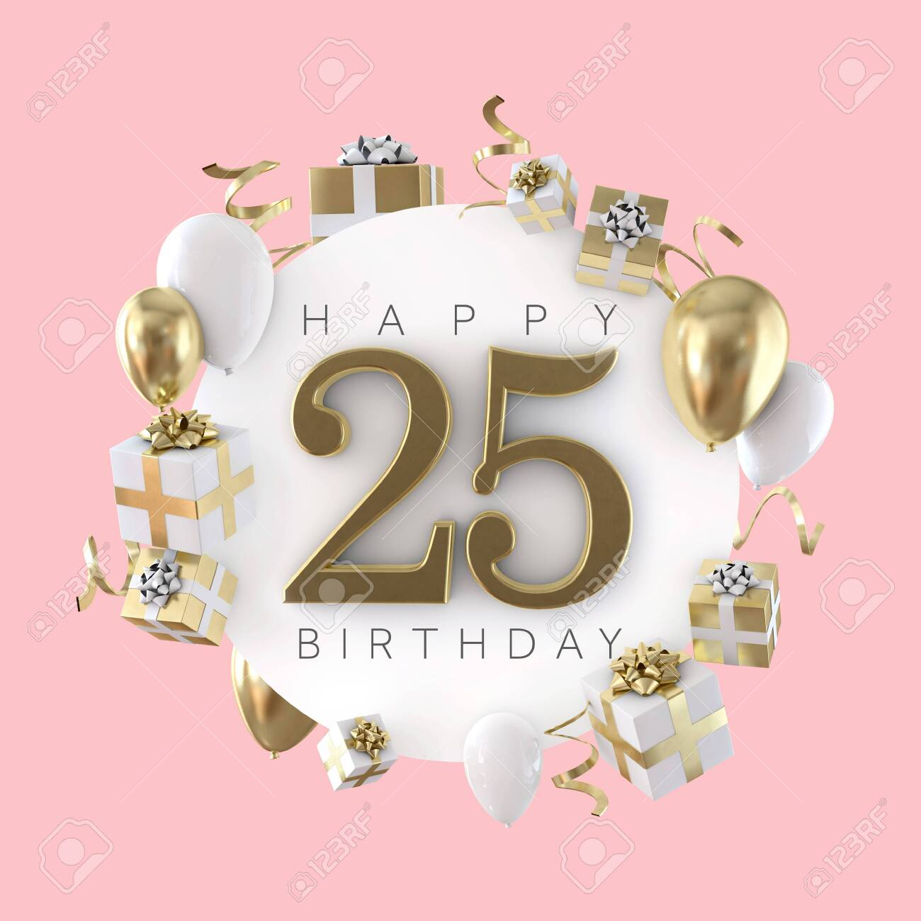 Happy 25th Birthday Party Composition With Balloons And Presents Stock Photo Picture And Royalty Free Image Image 119694751