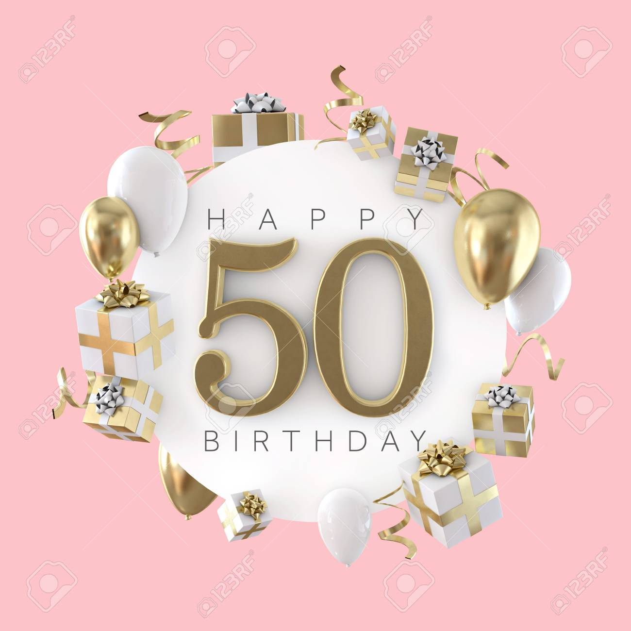 Happy 50th Birthday Party Composition With Balloons And Presents Stock Photo Picture And Royalty Free Image Image 119694719