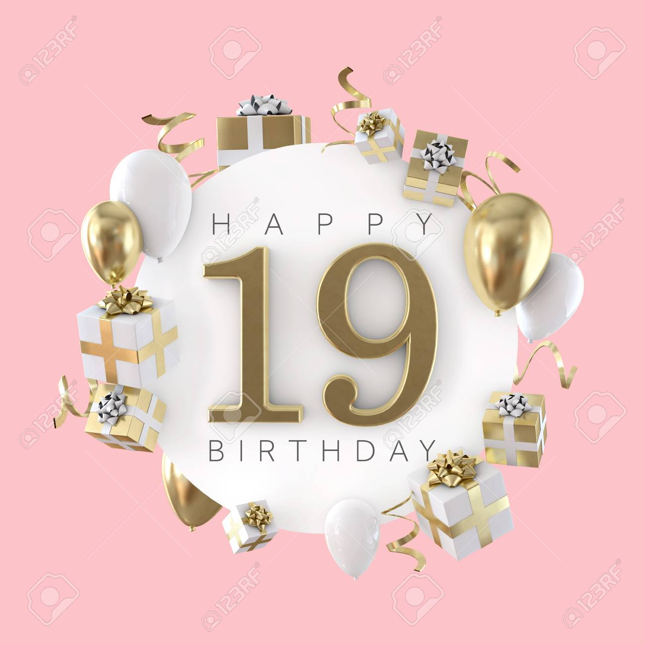 Happy 19th Birthday Party Composition With Balloons And Presents Stock Photo Picture And Royalty Free Image Image 119694725