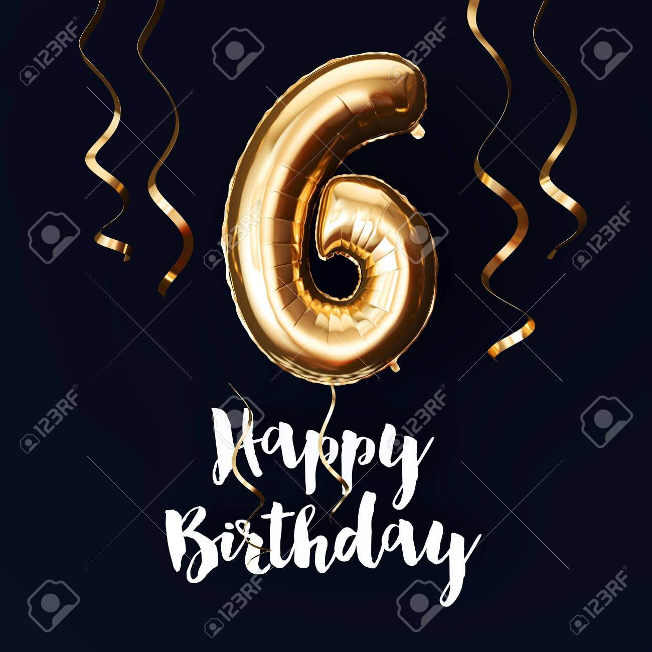 Happy 6th Birthday Gold Foil Balloon Background With Ribbons Stock Photo Picture And Royalty Free Image Image 124364457