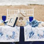 Wedding Decoration In A Marine Style Table For The Bride And