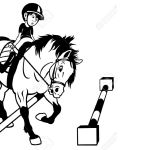 Kid Riding Horse Cavaletti Work Black White Cartoon Picture Children Royalty Free Cliparts Vectors And Stock Illustration Image 17624411