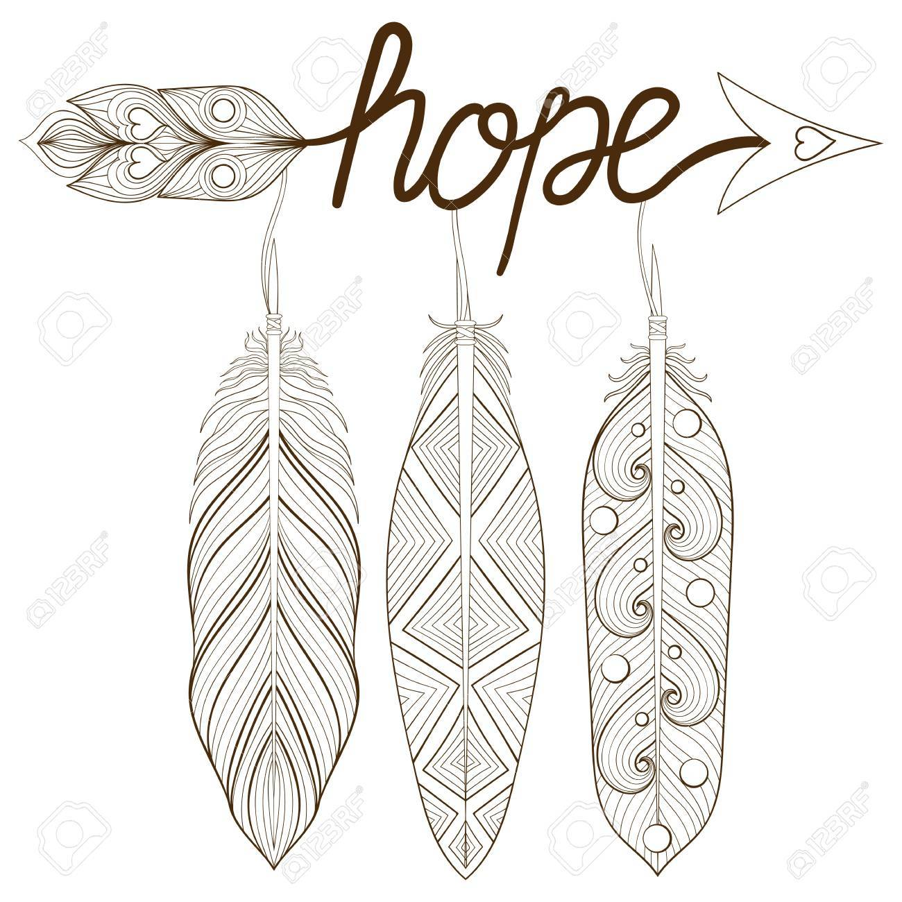 Bohemian Arrow Hand Drawn Amulet Letters Hope With Henna