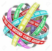 What Goes Around Comes Around Saying Or Quote On Colorful Ribbons.. Stock  Photo, Picture And Royalty Free Image. Image 34369967.