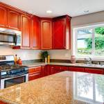 Light Tones Kitchen Room With Cherry Wood Cabinets Marble Counter Stock Photo Picture And Royalty Free Image Image 25562312
