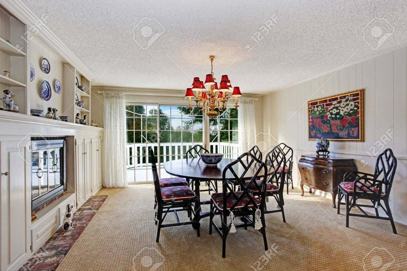 Old Fashion Dining Room Interior With Fireplace Black Rustic Stock Photo Picture And Royalty Free Image Image 29754489