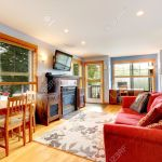 House Interior With Old Furniture Living Room With Bright Red