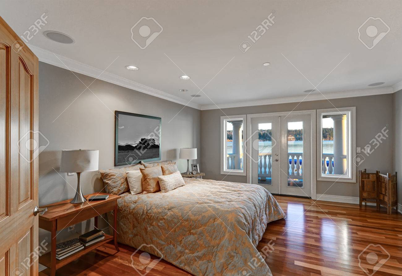 Chic Master Bedroom With Pale Grey Walls Paint Color Queen Bed Stock Photo Picture And Royalty Free Image Image 70909356
