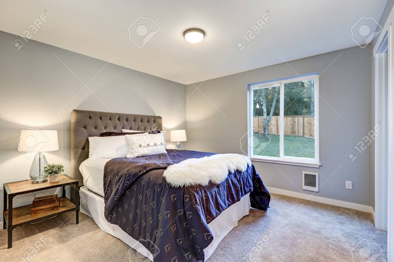 Lovely Master Bedroom With Soft Grey Walls Queen Bed With Tufted