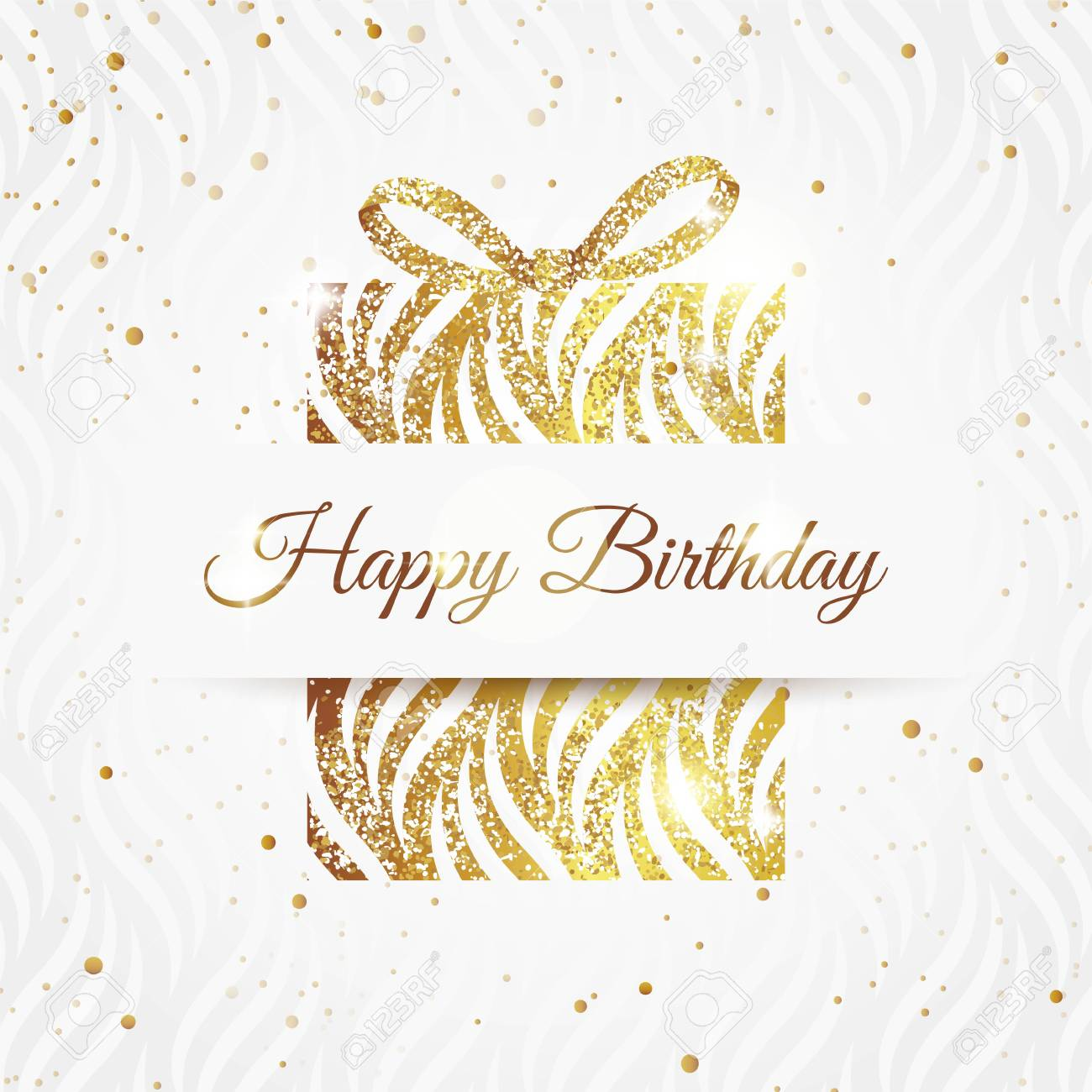 Happy Birthday Elegant Card With Golden Gift And Bow Birthday Royalty Free Cliparts Vectors And Stock Illustration Image 84067504