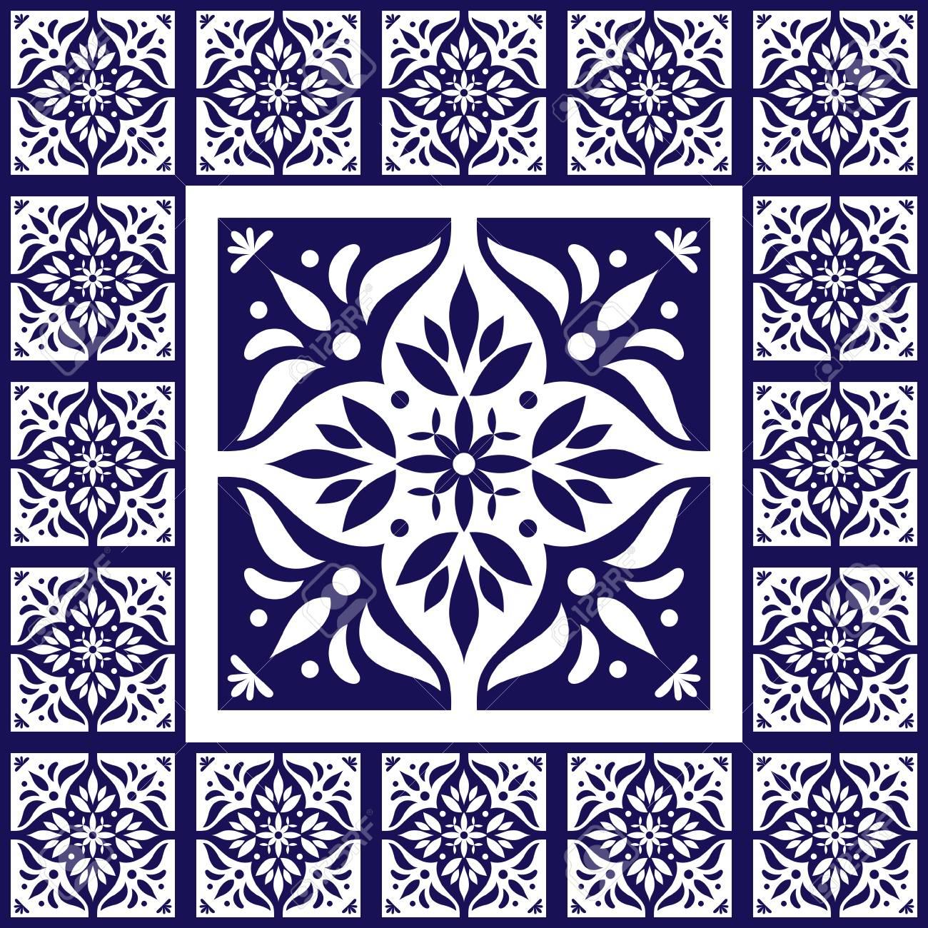 blue white tiles floor pattern vector with ceramic cement tiles