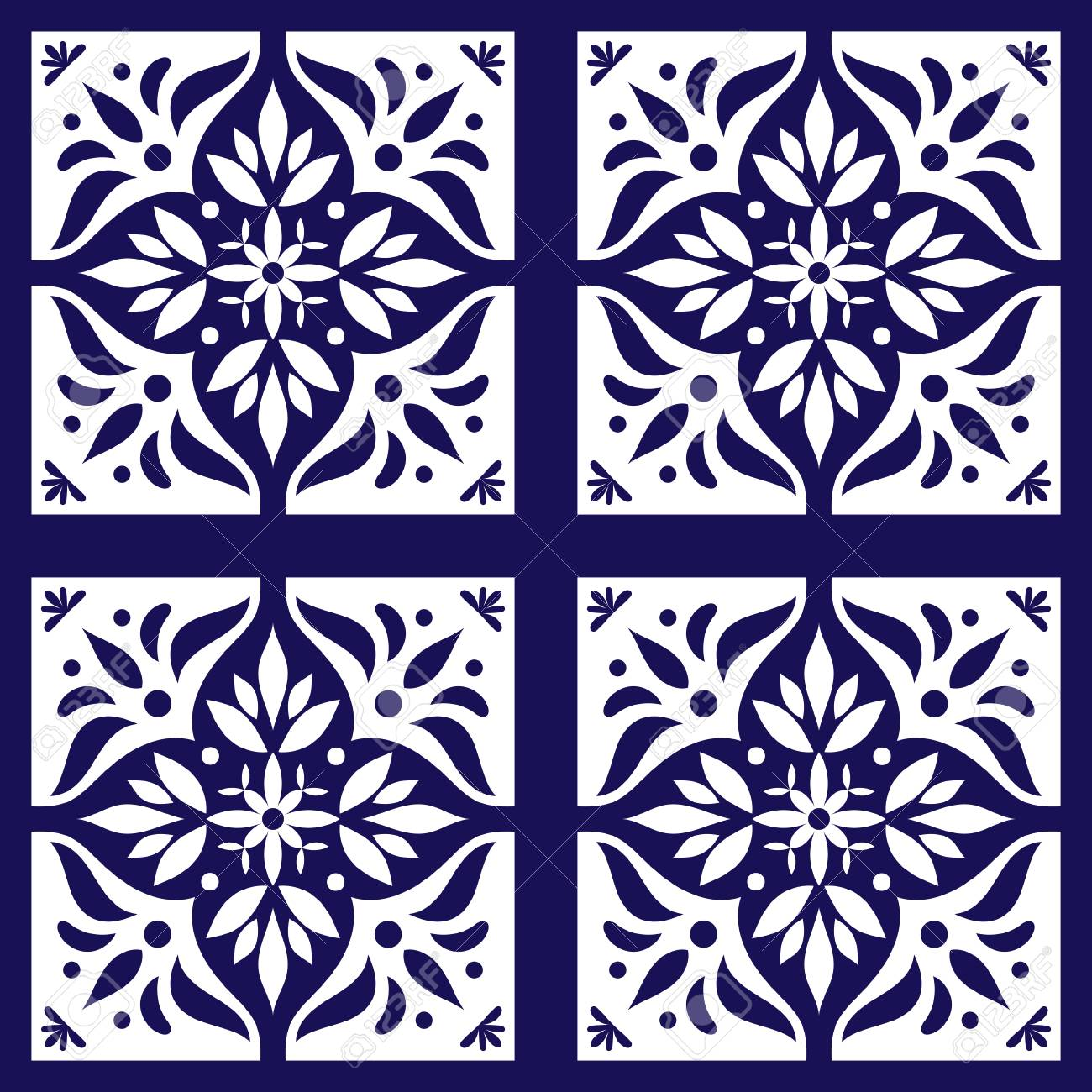 talavera mexican tiles pattern vector with blue and white flowers