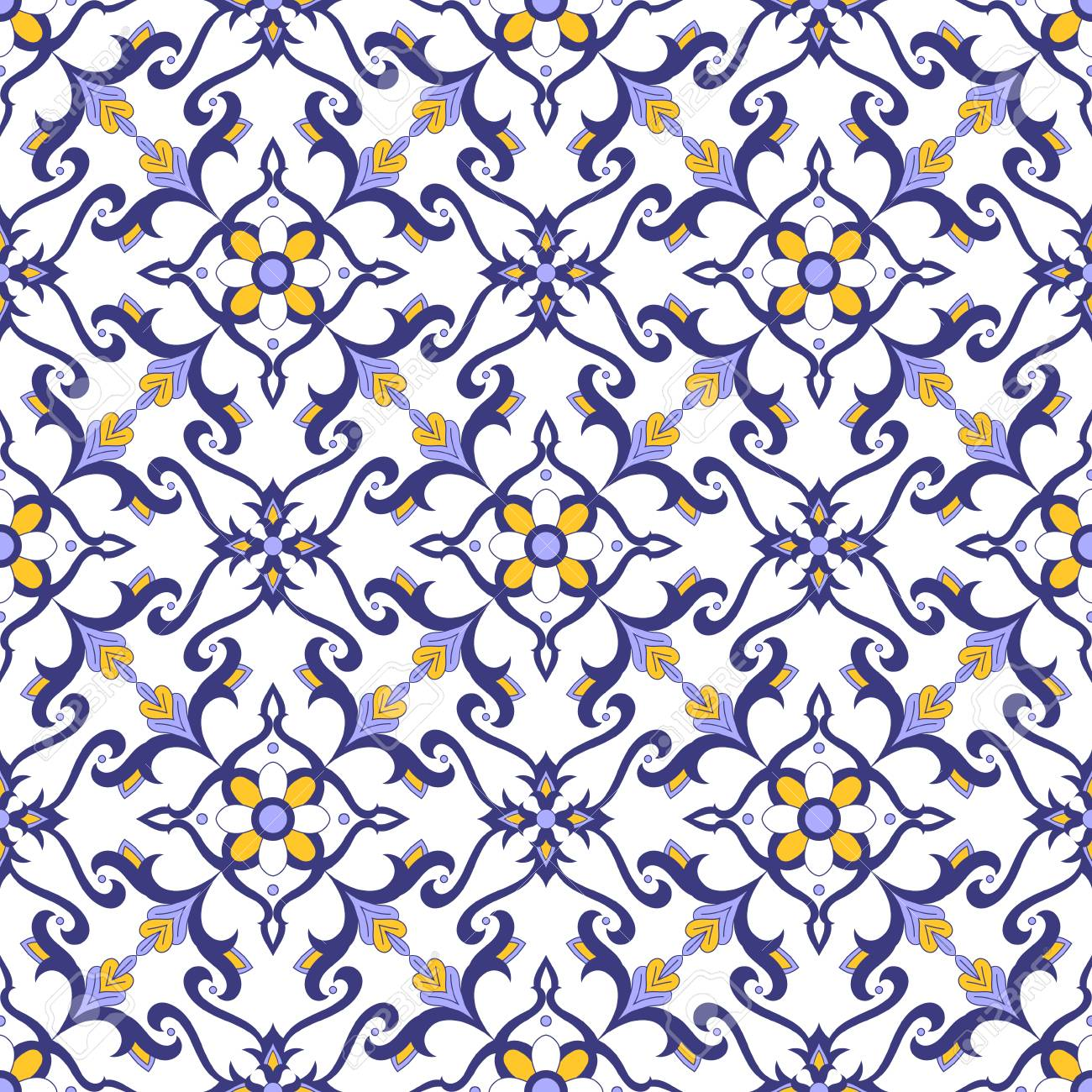 mexican tile pattern vector with blue yellow and white ornaments