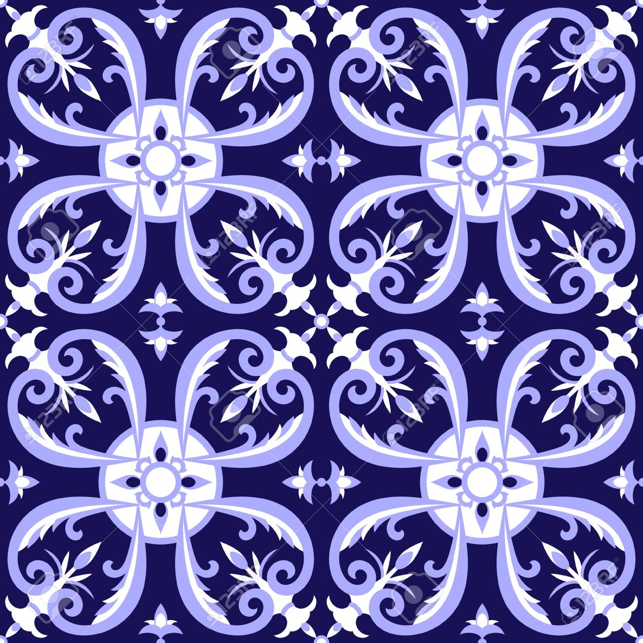 mexican tiles pattern vector with blue and white ornaments portugal