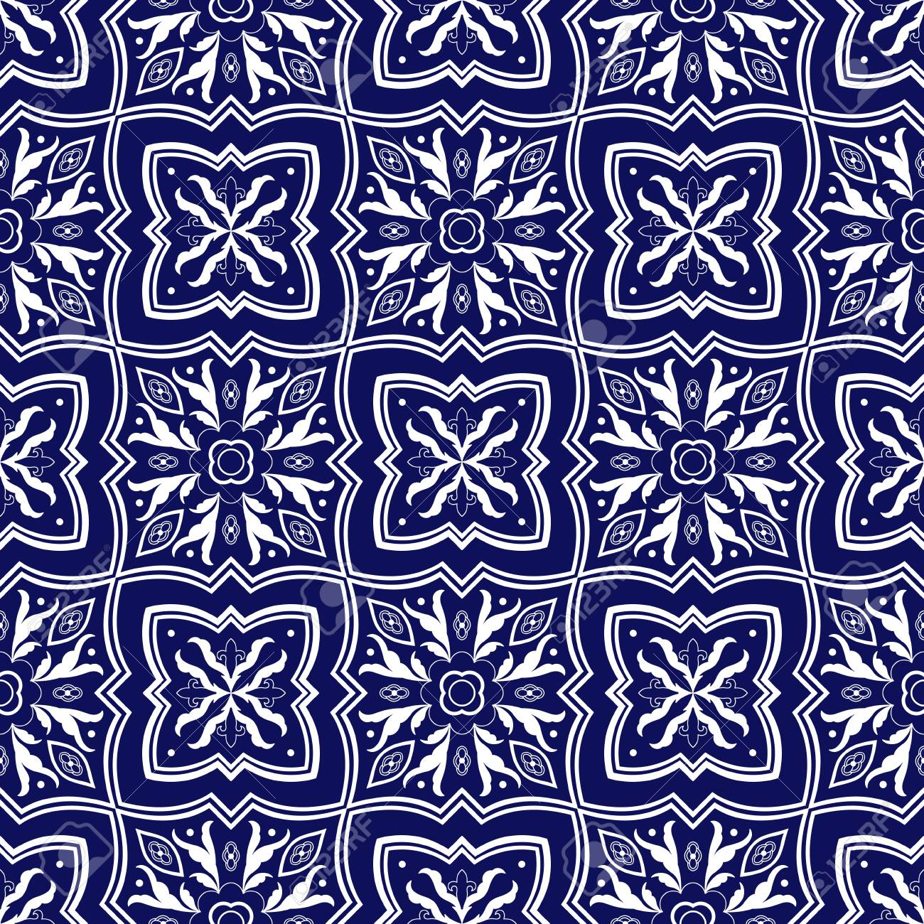 italian tile pattern vector seamless with floral ornaments portuguese