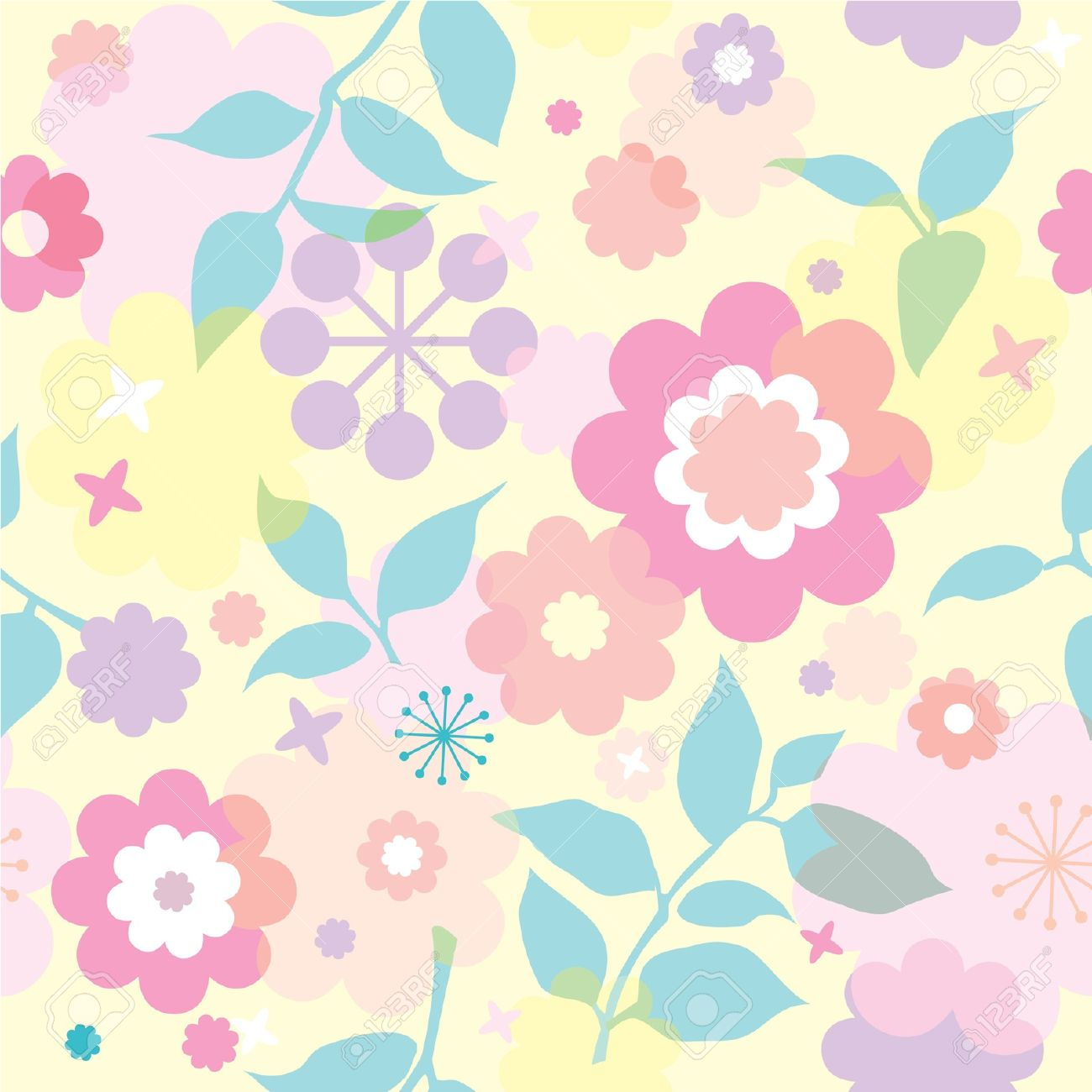 Bright Seamless Floral Wallpaper With Decorative Flowers Royalty Free Cliparts Vectors And Stock Illustration Image 12375155