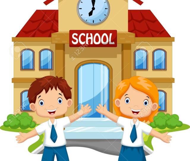School Children Posing In Front Of School Royalty Free Cliparts