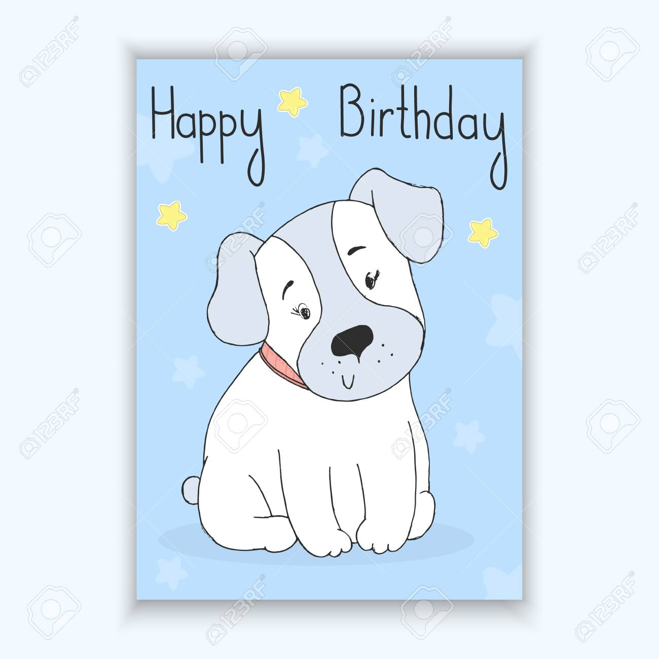 Happy Birthday Card With Hand Drawn Cute Cartoon Dog Vector Royalty Free Cliparts Vectors And Stock Illustration Image 73372786