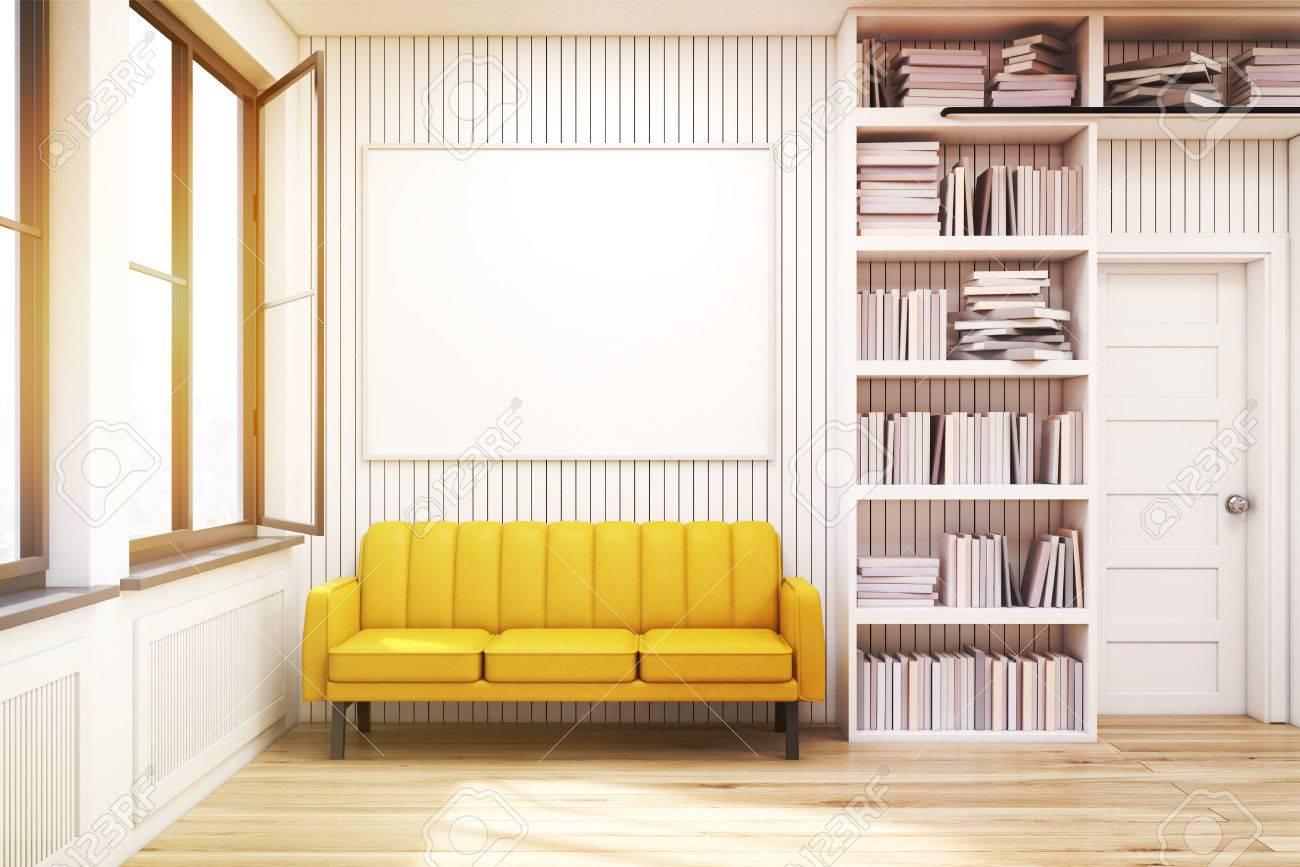 bibliotheque a la maison avec des etageres sur les cotes d une porte et un canape jaune avec une affiche horizontale suspendue au dessus rendu 3d