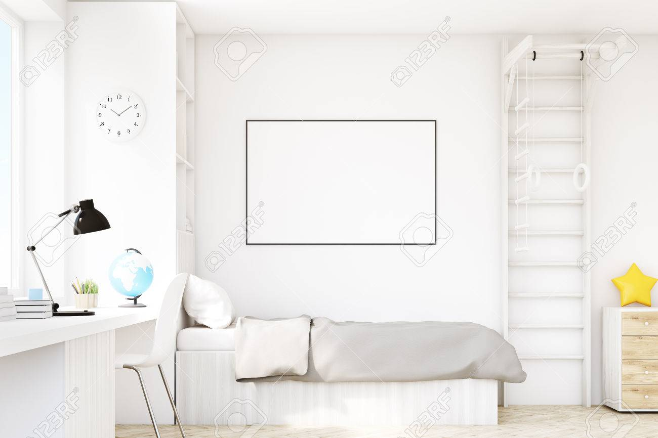 Close Up Of A Child Room With A Bed With Gray Bedspread A Square