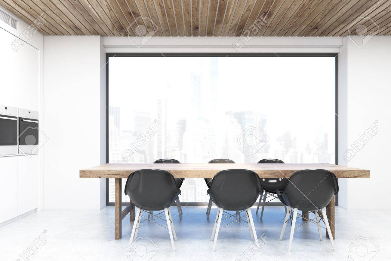 banque d images table de cuisine debout devant une grande fenetre avec une vue sur la ville le compteur blanc est a gauche rendu 3d
