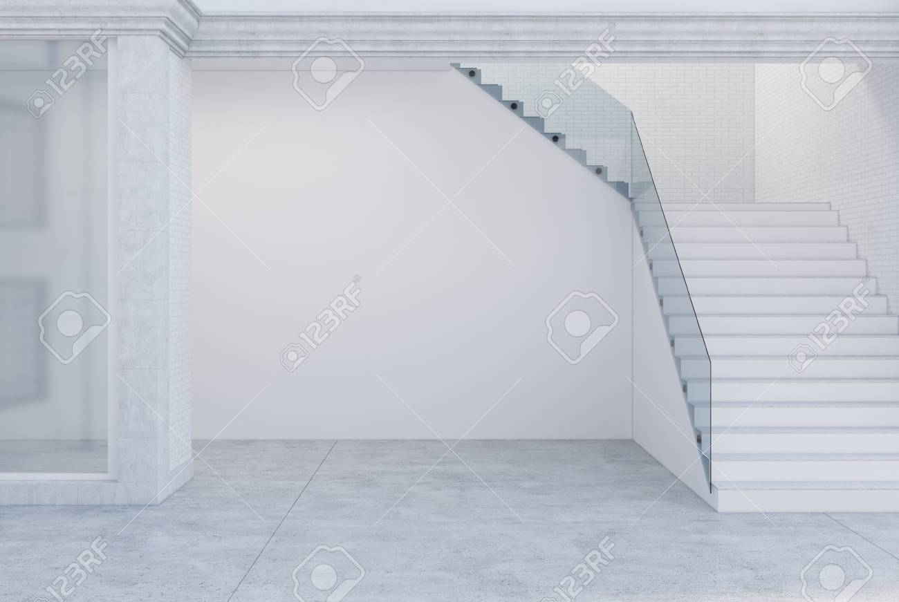 Concrete Floor White Walls A Glass Office With A Wide Staircase   White And Glass Staircase   Step   Before And After   Handrail   Stained   Oak
