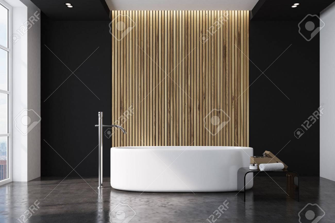 interieur de salle de bain noir et bois avec un sol en marbre une baignoire ronde blanche avec une fenetre de grenier maquette 3d