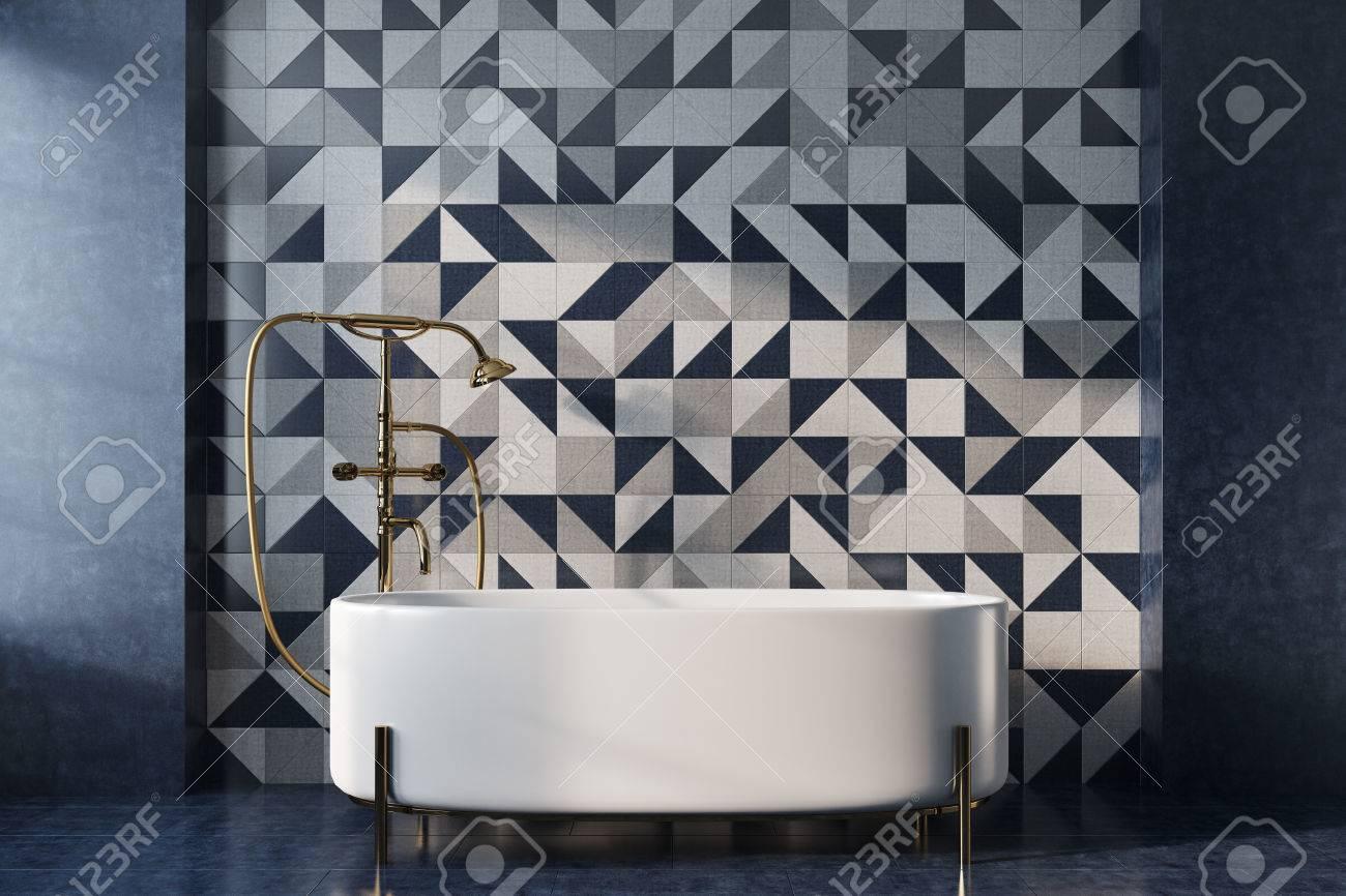 interieur de salle de bain vintage avec baignoire blanche douche doree et mur en mosaique concept de luxe et de richesse rendu 3d maquette