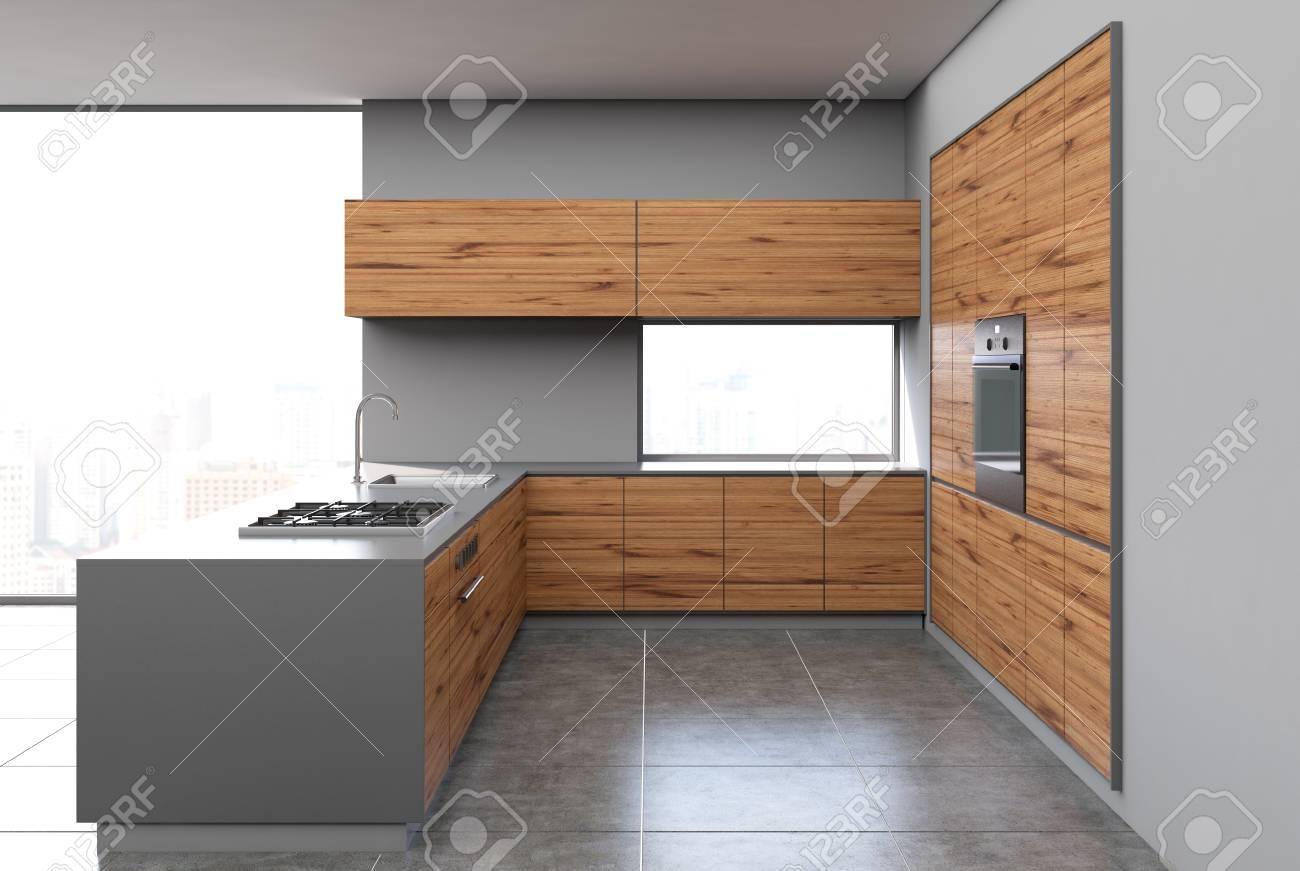 interieur de cuisine en bois gris et fonce avec un sol en beton des murs gris des fenetres panoramiques et un bar maquette 3d