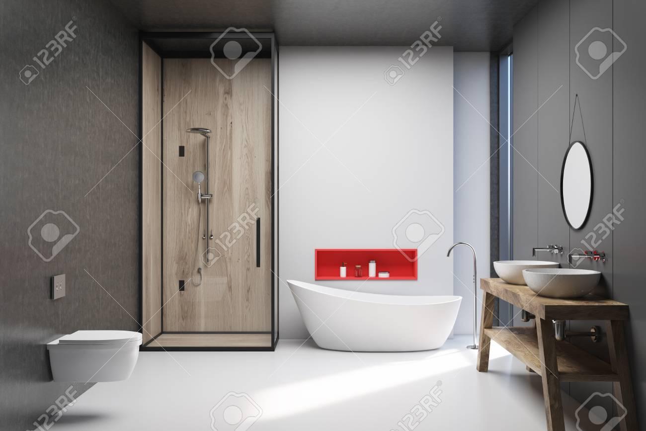 interieur de salle de bain blanc en bois et gris fonce avec sol blanc baignoire blanche cabine de douche deux toilettes et un double lavabo rendu