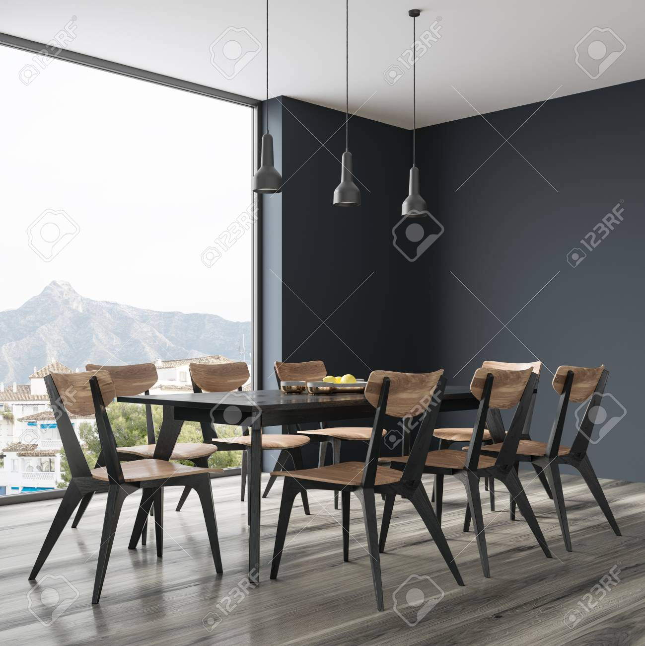 Long Black Dining Room Table With Black And Wooden Chairs Standing Stock Photo Picture And Royalty Free Image Image 95657328