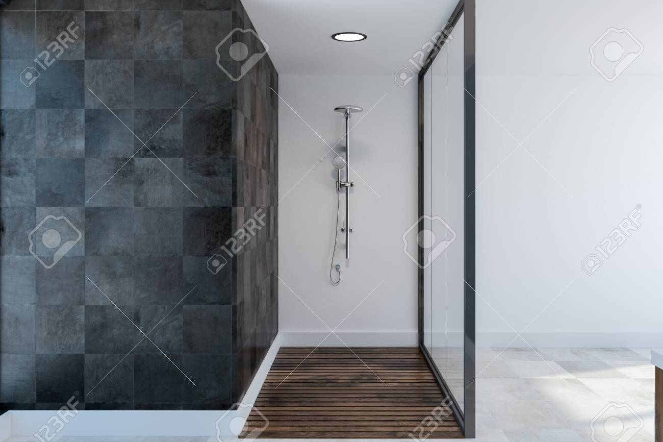 glass shower stall in a spacious bathroom interior with black