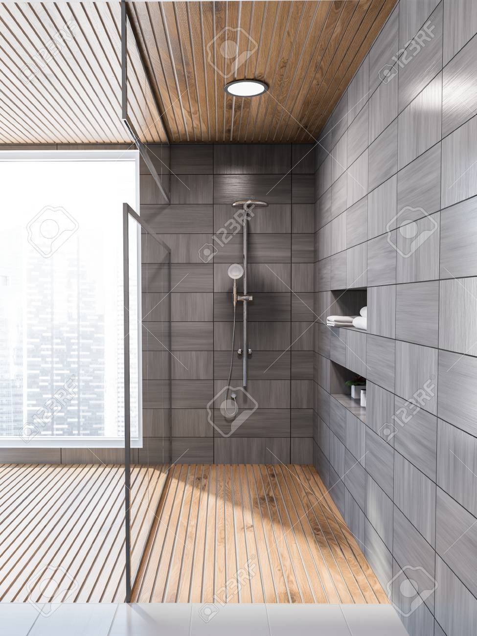 modern gray wooden tiled wall bathroom interior with gray floor