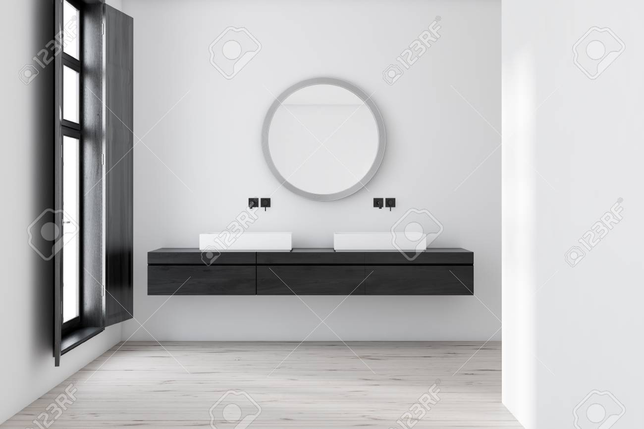 Interior Of Bathroom With White Walls Wooden Floor Large Window