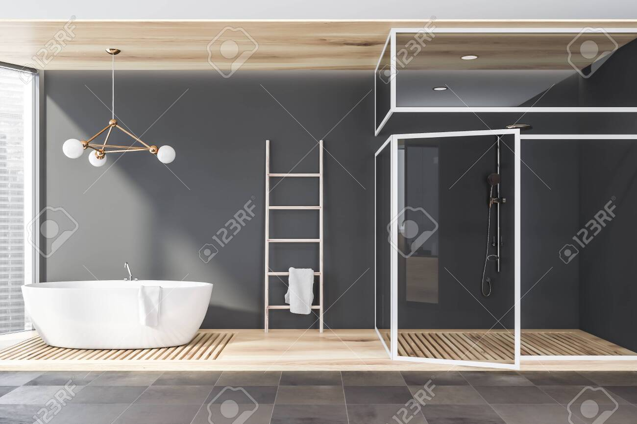 Interior Of Modern Bathroom With Gray Walls Tiled And Wooden