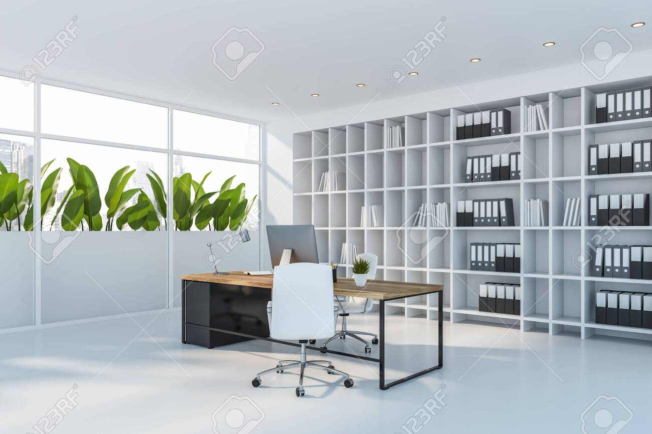 Corner Of Ceo Office With White Walls And Floor Stylish Computer