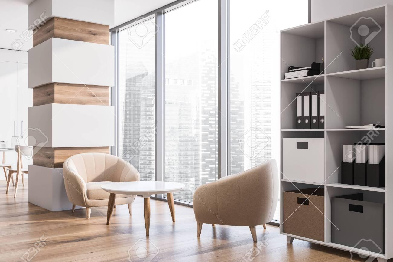 Corner Of Modern Living Room With White Walls Wooden Floor