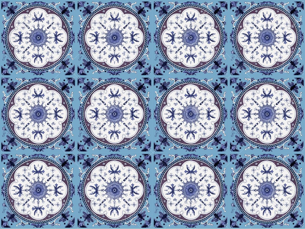 moroccan tile pattern background colorful vintage ceramic tiles