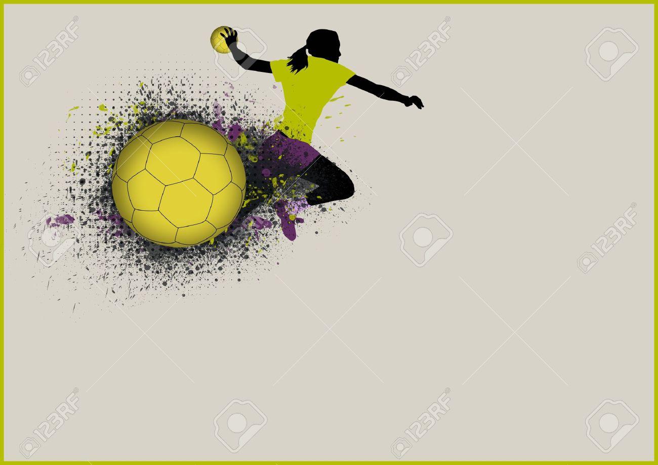 madchen handball sport plakat hintergrund mit raum