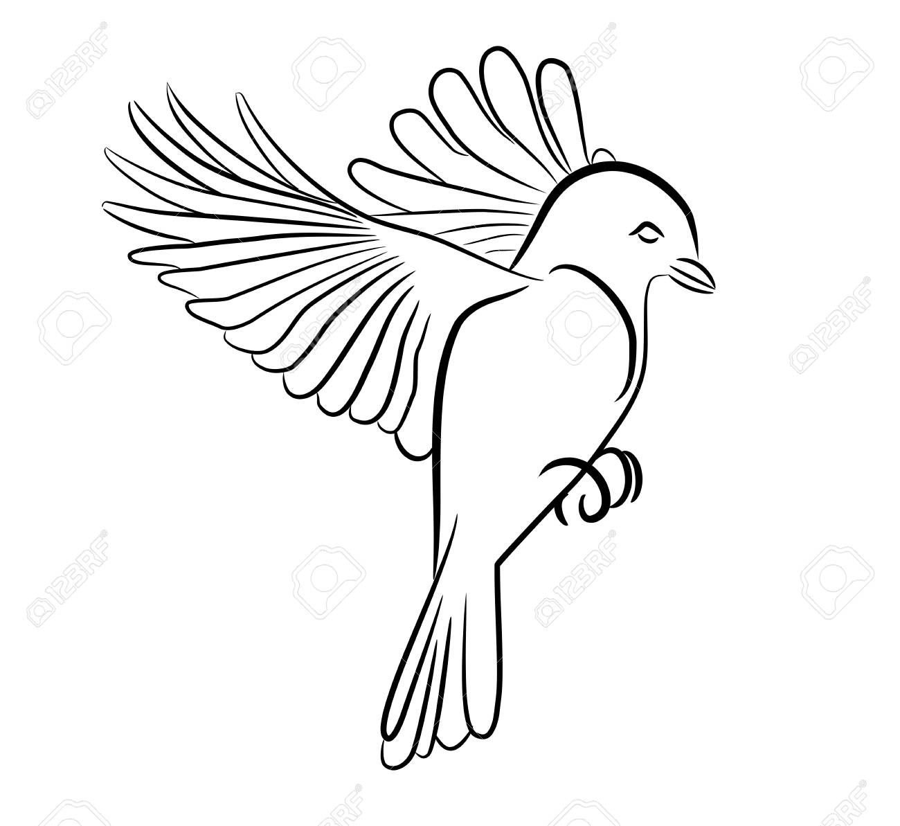 Stylized Bird Flying Artistic Drawing Silouete Traces Royalty Free Cliparts Vectors And Stock Illustration Image 95153859