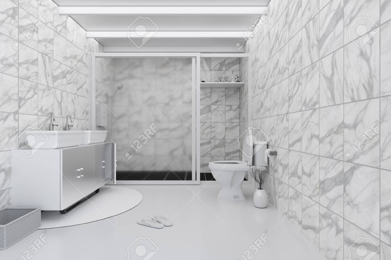 3d rendering illustration of white toilet and bathroom with
