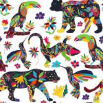 Seamless Pattern With Isolated Mexican Animals And Flowers The Royalty Free Cliparts Vectors And Stock Illustration Image 56339667