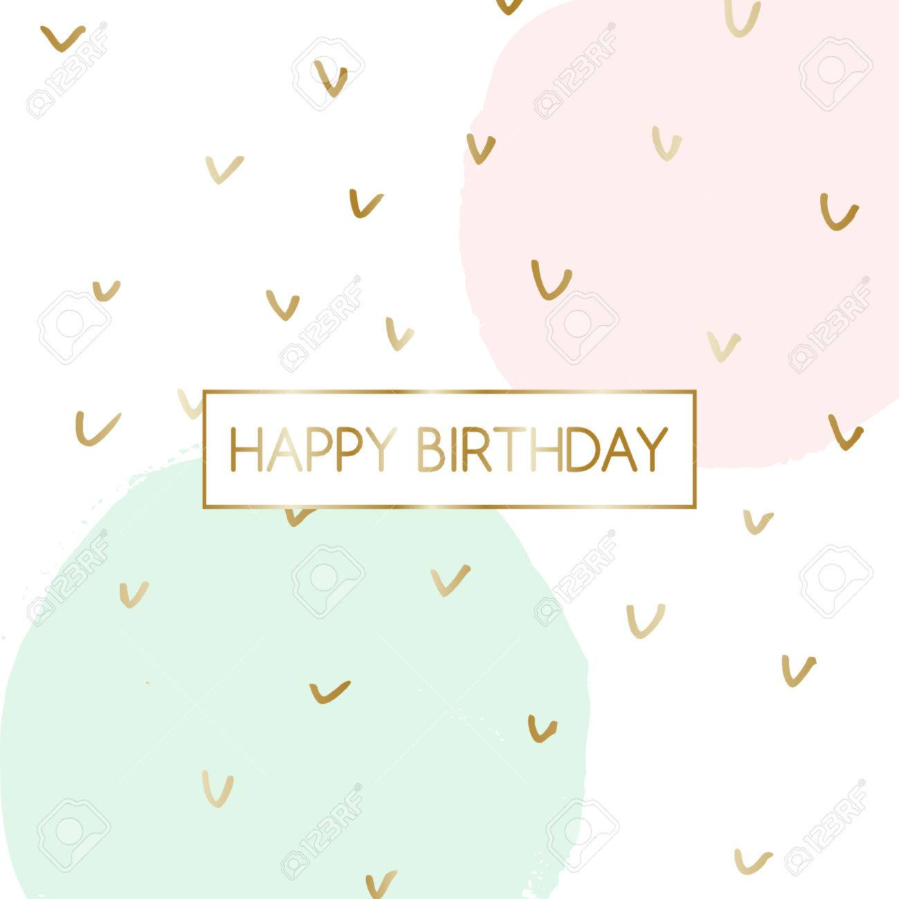 Birthday Greeting Card Design With Text Happy Birthday In Gold Royalty Free Cliparts Vectors And Stock Illustration Image 75349519