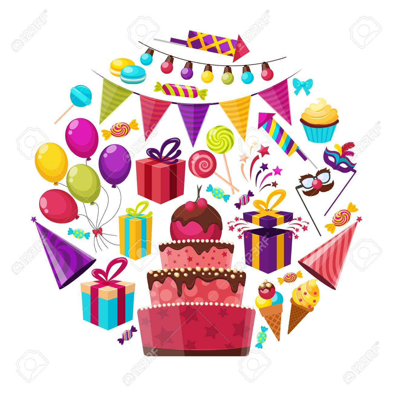 Birthday Party Isolated Cartoon Symbols Round Composition With Royalty Free Cliparts Vectors And Stock Illustration Image 68997159