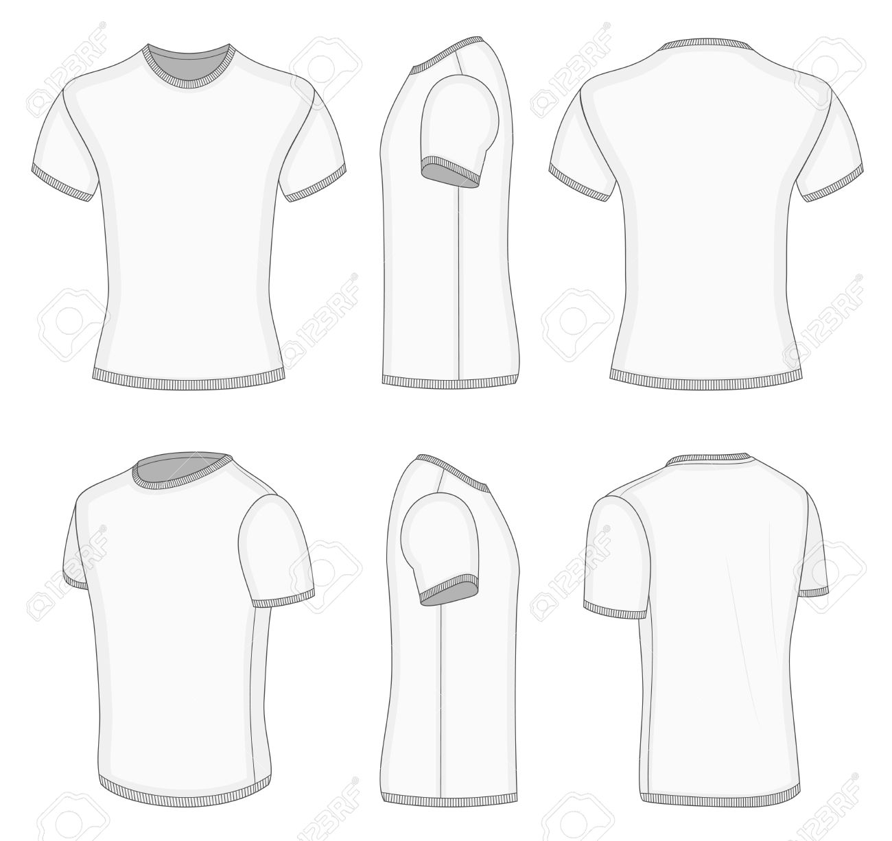 All Six Views Men S White Short Sleeve T Shirt Design Templates Royalty Free Cliparts Vectors And Stock Illustration Image 27523523