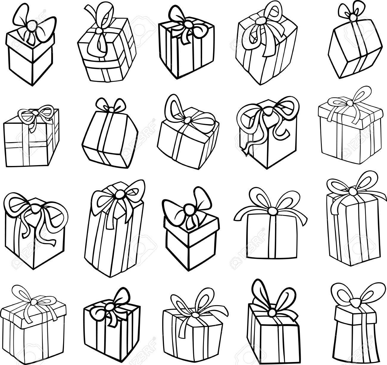 Black And White Cartoon Illustration Of Christmas Or Birthday Royalty Free Cliparts Vectors And Stock Illustration Image 23643656