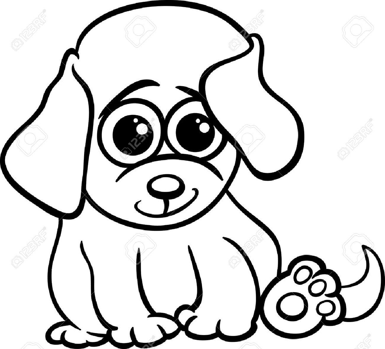 dessin anime noir et blanc illustration de mignon petit bebe animal chien ou chiot pour coloring book