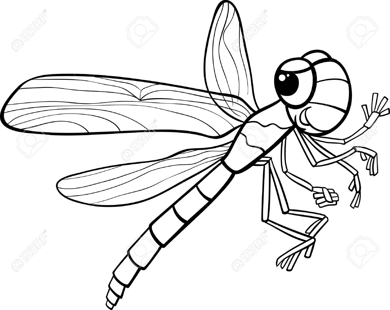 Black And White Cartoon Illustration Of Funny Dragonfly Insect Royalty Free Cliparts Vectors And Stock Illustration Image 26777605